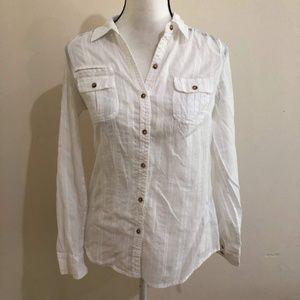 Express   White sheer button down blouse shirt